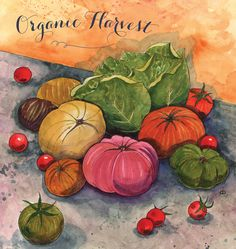 September Cover art for Kimberton Whole Foods, watercolor food illustration