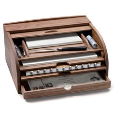 Walnut Letter Box and Document Desk Case | Organization