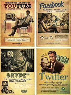 Anúncios retrô de projetos atuais #retrô #tecnologia #internet