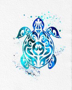 Aquarelle Art mer tortue Tribal bleu vert moderne 5 x 7 8 x 10