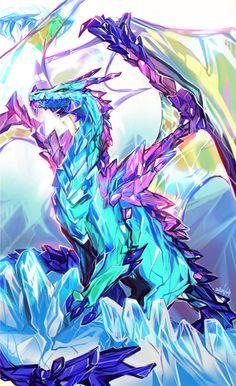 °Crystal Dragon by Enijoi Cute Fantasy Creatures, Mythical Creatures Art, Mythological Creatures, Magical Creatures, Dark Fantasy Art, Fantasy Artwork, Arte 8 Bits, Mythical Dragons, Mystical Animals