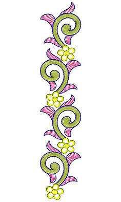 Hand Embroidery Design Patterns, Hand Embroidery Flowers, Flower Embroidery Designs, Lace Embroidery, Border Design, Pattern Design, Jewelry Drawing, Creative Embroidery, Fabric Painting