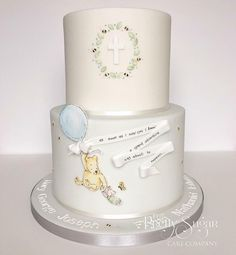 Pooh bear and piglet grand adventure christening cake Baby Boy Christening Cake, Christening Themes, Winnie The Pooh Cake, Winnie The Pooh Birthday, Baby Birthday, Birthday Cakes, Fig Cake, Sugar Cake, Girl Cakes