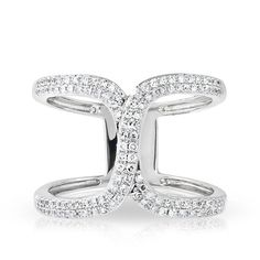 """14KT White Gold Diamond Double Horseshoe Ring Wide Diamond Ring Ring measures approximately 1/2"""" in height"""
