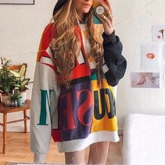Street Style Colorful Color-block Sweatshirts – aromiya Retro Outfits, Trendy Outfits, Retro Sweatshirts, Hoodies, Casual Tie, Color Block Sweater, Vintage Prints, Everyday Fashion, Street Style