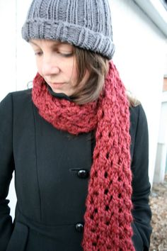 Chunky lace garnet red long hand knit wool by baldyhillhomemade, $35.00