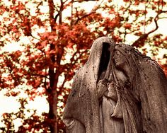 Items similar to Paris Photography - Halloween Decor - Pere Lachaise Cemetery Photo Gothic Art Print Paris France Red Leaves Haunting Romantic Autumn on Etsy Cemetery Angels, Cemetery Statues, Cemetery Art, Père Lachaise Cemetery, Old Cemeteries, Graveyards, Gardens Of Stone, Paris Photography, Gothic House