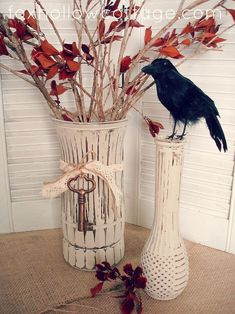 Make interesting decor for little money by painting and distressing glass to coordinate with your home, holiday or event theme. Super use for all those old vases and thrift store finds.