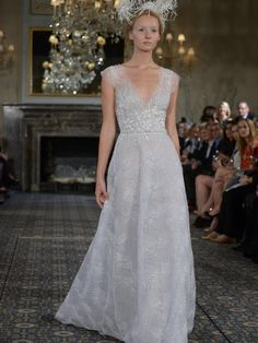 Mira Zwillinger wedding dress with v-neckline, beading and sequins from Spring 2016