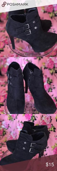 Guess boots booties ankle buckle platform shoes PRE LOVED and WORN  Black vegan double buckle platform ankle boots by GUESS  Club dance party costume dress vixen bombshell date night career work play sexy gothic vintage style burlesque cabaret concert music video techno house Guess Shoes Heeled Boots