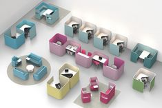 PodWork offers several options for short-term working in an activity based office. Two different versions are available: one with more closed screens in order to provide added privacy and one with more open screens for more open communication. Table tops come in two sizes and with optional electrical height adjustment. Various upholstery materials can be used to add character to the space.