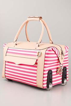 Rebecca Minkoff Striped Wheelie Bag - this is FAR too cute. Luggage at its most adorable! Cute Luggage, Travel Luggage, Luggage Bags, Travel Bags, Pink Luggage, Estilo Navy, Mk Handbags, Cute Bags, Travel Accessories