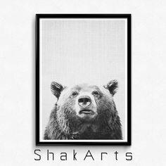 Bear Print Animal Printable Woodland Prints Wilderness by ShakArts