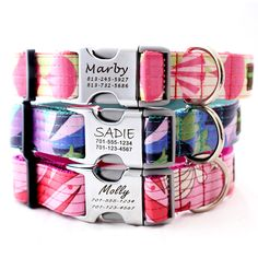 Personalized Laminated Cotton Lazer Engraved Dog Collar with Metal Buckle - 5 styles. $41.95, via Etsy.