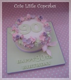 "7"" Classic Vanilla cake decorated in mint green, powder pink & pale lilac for a 90th Birthday x"
