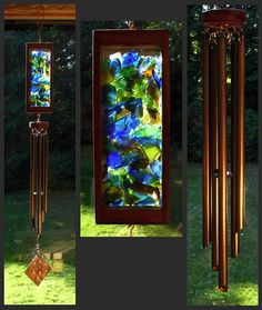 Love love love!  Wind Chime Beach Glass Stained Glass Copper by CoastChimes on Etsy, $175.00