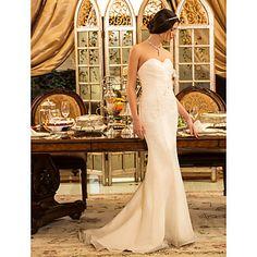 trompette / sirène sweetheart balayage / pinceau train robe de mariée en organza (519033) - EUR € 121.68