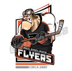 A pilot wearing the 2001 Philadelphia Flyers jersey with a hockey stick. Flyers Hockey, Hockey Logos, Sports Team Logos, Hockey Mom, Hockey Cards, Hockey Teams, Ice Hockey, Hockey Stuff, Creative Logo