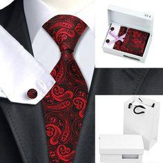 Red Black Paisley Tie Hanky Cufflinks Gift box