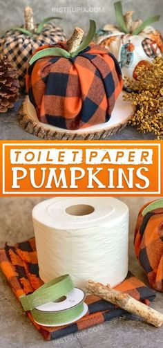) This easy fall projec… DIY Fall Decor Idea: Toilet Paper Pumpkins (Cheap & Easy!) This easy fall projec…,DIY und Handwerk DIY Fall Decor Idea:. Fall Paper Crafts, Easy Fall Crafts, Fun Diy Crafts, Fall Diy, Diy Paper, Decor Crafts, Paper Ribbon, Paper Art, Crafts With Fabric