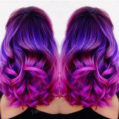 Purple mermaid hair melting into magenta hair color by ColorDollz (Toni Rose Lar. Purple mermaid h Magenta Hair Colors, Purple Hair, Plum Purple, Purple Rose, Teal Orange, Bright Purple, Gray Hair, Pelo Color Morado, Hair Colors