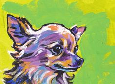 long haired Chihuahua portrait modern Dog art by BentNotBroken, $22.99