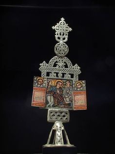 Africa | An Altar Coptic reliquary cross from the Amhara people of Ethiopia | ca. 1980
