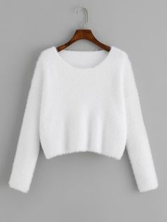 To find out about the Round Neck Solid Fuzzy Sweater at SHEIN, part of our latest Sweaters ready to shop online today! Sweater Outfits, Casual Outfits, Cute Outfits, Fashion Outfits, Crop Pullover, Cropped Sweater, Fashion Online Shop, Casual Sweaters, White Style