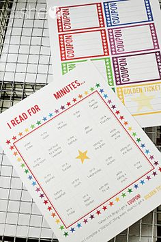 Summer Reading Charts and other fun Summer activities. For the child who thinks reading is only at bedtime!