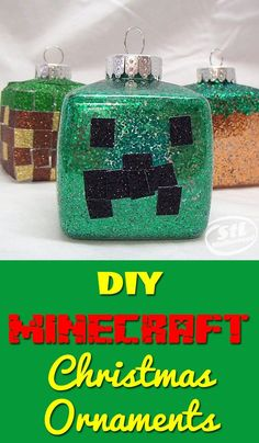 DIY Minecraft Christmas ornaments that are super simple to make with the kids! We made these when Mitch was 6 and used glitter tape to keep it easy.