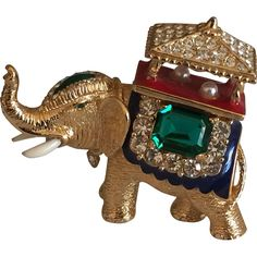 Vintage Ciner Enamel and Rhinestone Accented Elephant Brooch with Faux Pearls