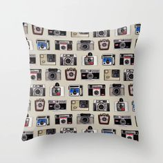 Buy Vintage Cameras - Photography Pattern Throw Pillow by somecallmebeth. Worldwide shipping available at Society6.com. Just one of millions of high quality products available. Couch Pillows, Down Pillows, Vintage Cameras, Camera Photography, Designer Throw Pillows, Pillow Design, Pillow Inserts, Hand Sewing, Pretty