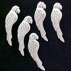 Decorative Push Pins. Parrots, silvertone, Set of 5, $9.95 at www.PushPinsAndFabricCorkBoards.com, Category: DECORATIVE PUSH PINS, subcategory: BIRDS  #fabriccorkbulletinboards #decorativepushpins #stickpins #tackpins  #parrotspushpins