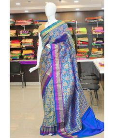 Rich Look Blue Kanchipuram Pure Silk Saree with Purple Border