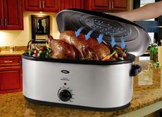 Electric Turkey Roaster Pan with Lid 22 Quart Oven Countertop Basting Lid #Oster