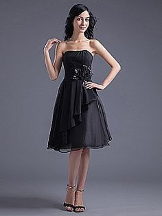 Strapless Chiffon Knee Length A Line Bridesmaid Dress with Side Draping and Flower - USD $79.69
