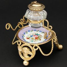 Antique French Gilt Ormolu, Porcelain & Cut Glass Inkwell, Whippet or Dog Figures & French Horn