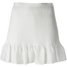 Vanessa Bruno Ruffled Hem Skirt (490 SAR) ❤ liked on Polyvore featuring skirts, bottoms, white, white skirt, ruffle hem skirt, white knee length skirt, flounce hem skirt and vanessa bruno