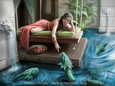 Many things inspire my art. I got the idea for this new picture from a swing seat at the very nice hotel that I recently stayed at on holiday in Mexico. Here the lady relaxes in the royal court as small water dragons swim up to greet her. There are various dragon details in the wood carving, the water spouts and her wrist band, showing that her culture is affiliated to these creatures. What happens next is entirely up to the imagination of you the viewer.