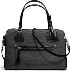 Coach Poppy East/West Satchel in Mini Oxford Signature C (Black/Black)