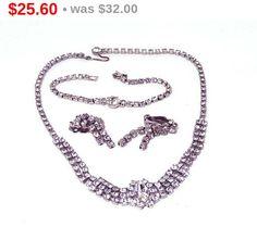Clear Rhinestone Necklace, Earrings and Bracelet Set - Vintage Brides Jewellery