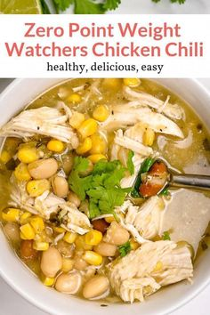 The easiest Zero Point Weight Watchers White Chicken Chili made with chicken bre. The easiest Zero Point Weight Watchers White Chicken Chili made with chicken breast, beans, corn, a Plats Weight Watchers, Weight Watchers Soup, Weight Watcher Dinners, Weight Watchers Lunches, Weight Watchers Recipes With Smartpoints, Weight Watcher Recipes, Weight Watchers Points, Weight Watchers Salsa Recipe, Weight Watchers Chicken Spaghetti Recipe