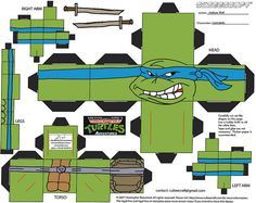 Teenage Mutant Ninja Turtles Adventures - Leonardo papercraft model figure  [[  CUBEECRAFT  model by Joshua Wolf  ]] by tOkKa, via Flickr for daniel
