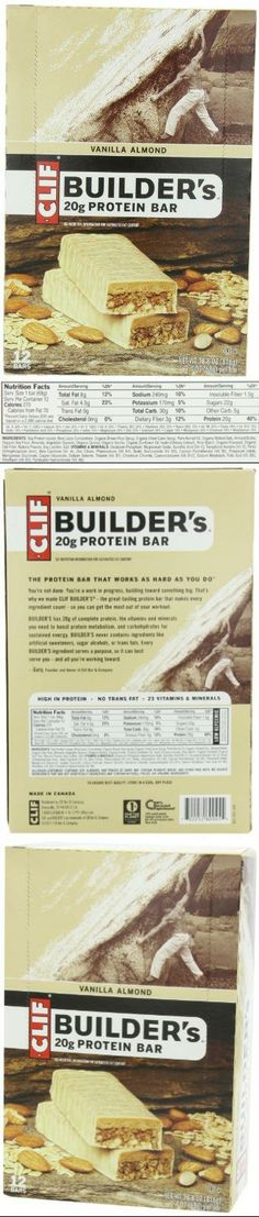 Clif Bar Builder's Bar, Vanilla Almond, 2.4-Ounce Bars, 12 Count Entirely natural protein bar. Packed with 20 grams of protein from soy and nuts. Delivers indulgent taste naturally with 32-35 percent organic ingredients. No transfats or partially hydrogenated oils; low glycemic food.  #Clif_Bar #Health_and_Beauty