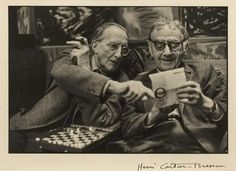 myarmisnotalilactree:  Henri Cartier-Bresson - Marcel Duchamp and Man Ray, 1968
