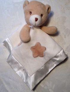 LOVEY JAFRA Tan White Teddy Bear Stars Cream Satin Baby Security Blanket NuNu #JAFRA