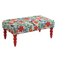 The Gazebo Claire Bench is perfect for adding extra seating space to your living room, den, or at the end of your bed. The fun, bright colored Gazebo upholstery and the eyecatching red finish on the t...