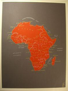 Africa Map on Folksy