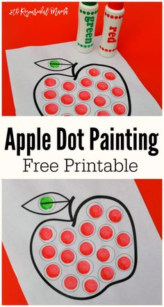 This free pintable apple dot painting worksheet uses Do a Dot Markers, bingo markers, or pom poms to create a fun and easy back to school or fall project. toddlers|preschoolers|hand-eye coordination