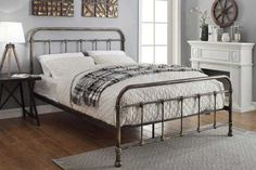 Burford Rustic Antiqued Victorian Hospital Style Metal Bed Frame - Double / King Size